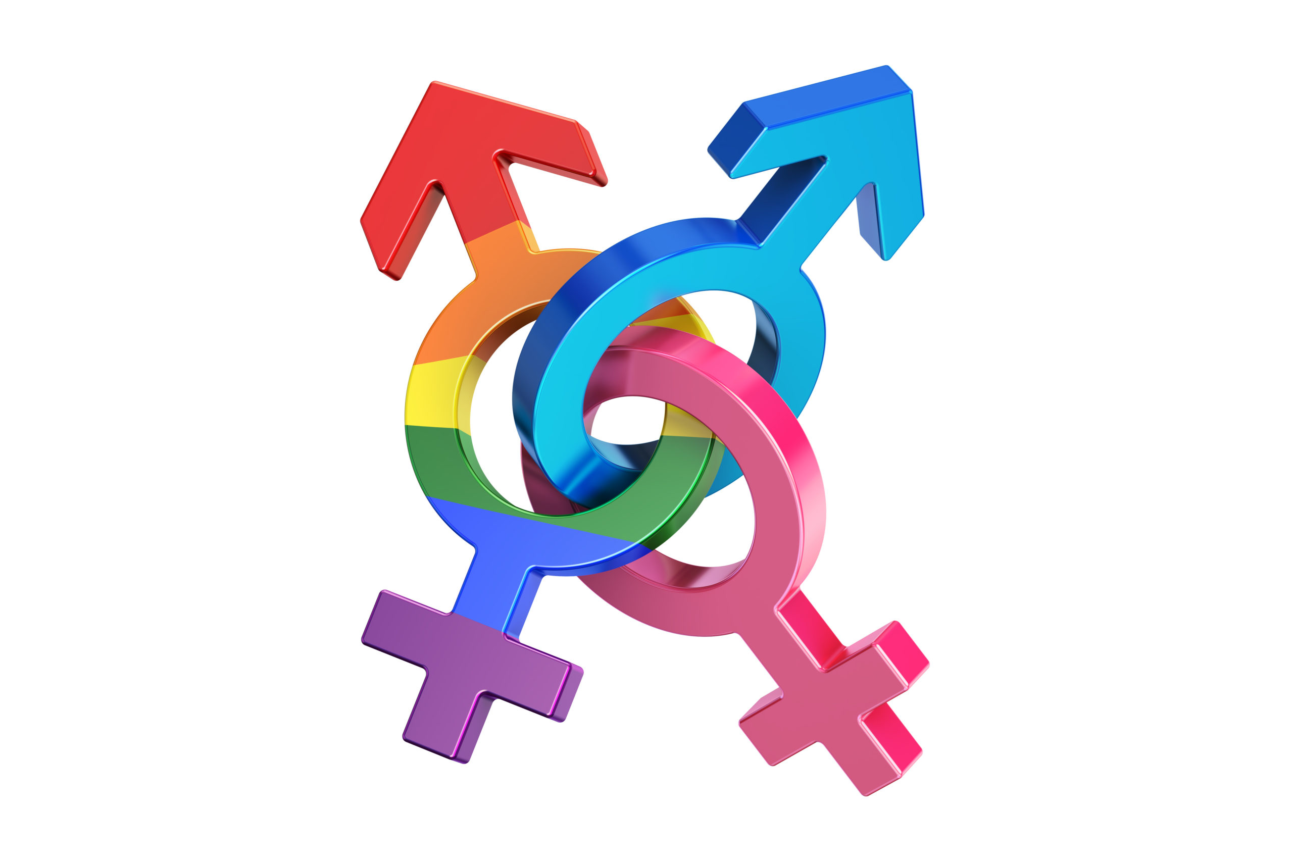 gender symbols, 3D rendering isolated on white background